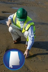 alabama map icon and an environmental engineer wearing a green safety helmet