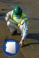 arizona map icon and an environmental engineer wearing a green safety helmet