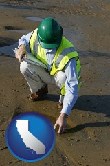 california map icon and an environmental engineer wearing a green safety helmet