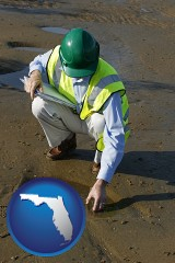 florida map icon and an environmental engineer wearing a green safety helmet