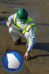 georgia map icon and an environmental engineer wearing a green safety helmet