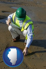 illinois an environmental engineer wearing a green safety helmet