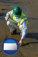 kansas map icon and an environmental engineer wearing a green safety helmet
