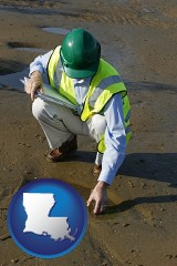 louisiana map icon and an environmental engineer wearing a green safety helmet