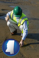 mississippi map icon and an environmental engineer wearing a green safety helmet
