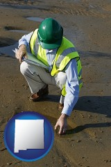 new-mexico map icon and an environmental engineer wearing a green safety helmet