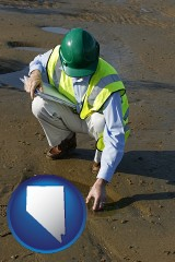nevada map icon and an environmental engineer wearing a green safety helmet