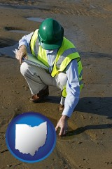 ohio map icon and an environmental engineer wearing a green safety helmet