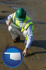 oklahoma map icon and an environmental engineer wearing a green safety helmet