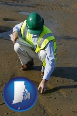 rhode-island map icon and an environmental engineer wearing a green safety helmet