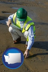 washington map icon and an environmental engineer wearing a green safety helmet