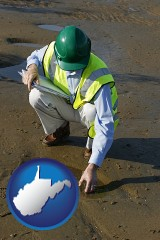 west-virginia map icon and an environmental engineer wearing a green safety helmet