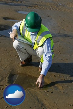 an environmental engineer wearing a green safety helmet - with Kentucky icon