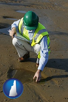 an environmental engineer wearing a green safety helmet - with New Hampshire icon